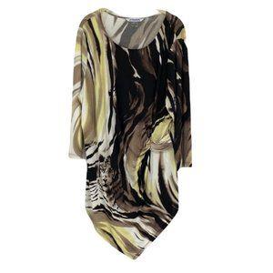 Nygard brown yellow tiger abstract print gathered tunic